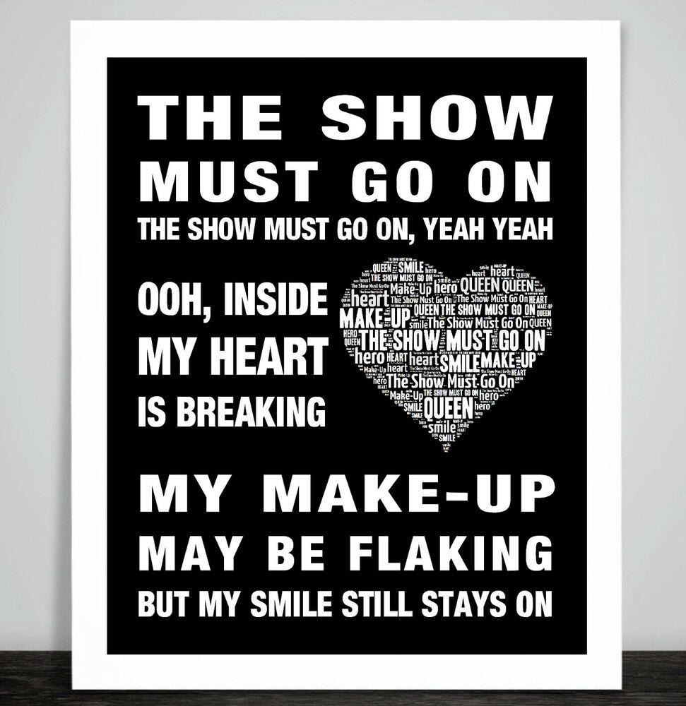 Queen The Show Must Go On Art Print Poster Music Song Lyrics Freddie Mercury Imagens De Fundo