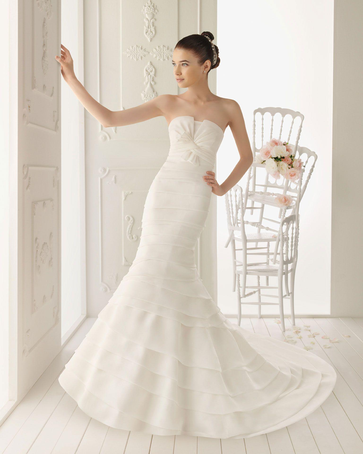 Ecru wedding dress  ROLAN  Organza dress in ecru  Tulle and rebrodé lace jacket
