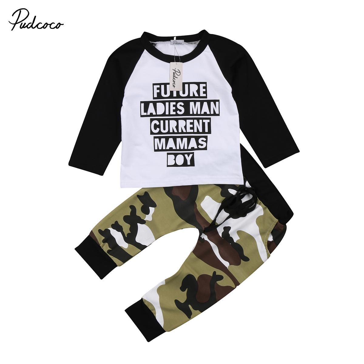 c528db2cb Pudcoco Toddler Kids Baby Boy Camo Outfits Clothes Long Sleeve T-shirt Tops+Pants  Trousers 2PCS Set. Yesterday's price: US $5.81 (5.10 EUR).
