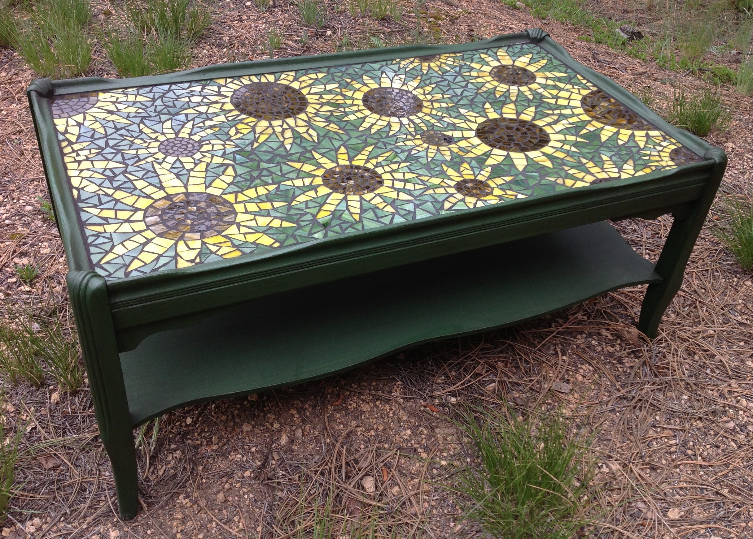 Vintage coffee table updated with paint & mosaic sunflower top