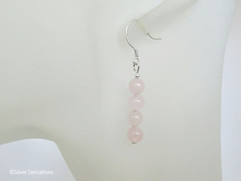 Baby Pink Rose Quartz Round Stack Sterling Silver Earrings from Silver Sensations. Stunningly feminine pastel pink & sterling silver hand made earrings. Handmade by Lynne