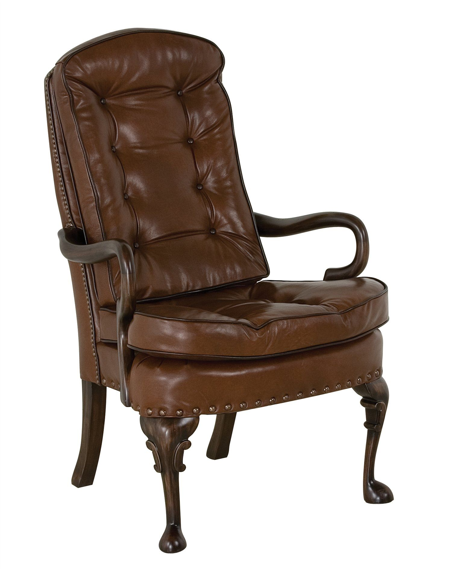 Classic Leather Semi Attached Goose Neck Chair Chair