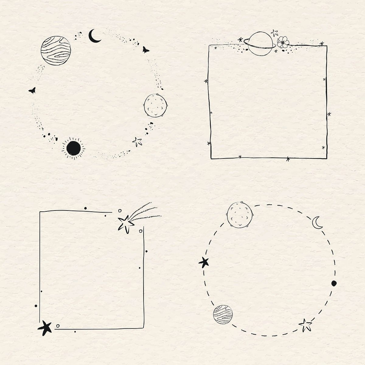 Download free vector of Minimal line art galaxy frame set vector by marinemynt about text boxes, solar system, minimal draw, planet, and outer space 2265130