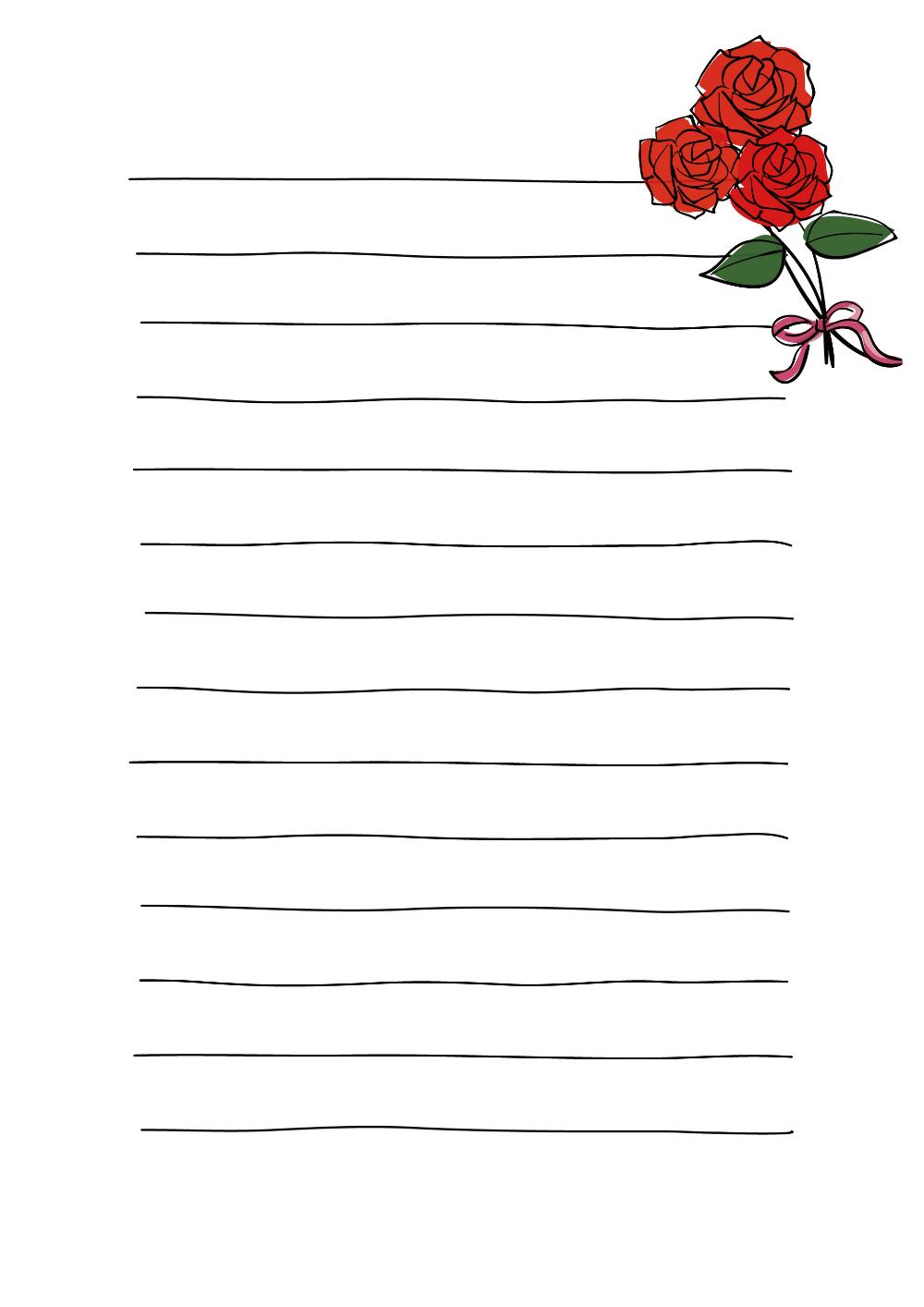 便箋テンプレート お祝いのバラ ダウンロード かわいい無料イラスト