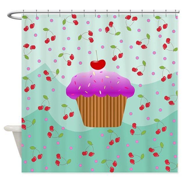 Cherry + Cupcake Shower Curtain