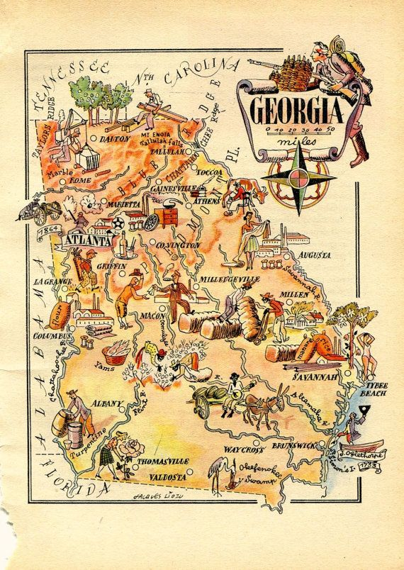 Vintage Map Of Georgia United States USA By CarambasVintage - Map of georgia united states