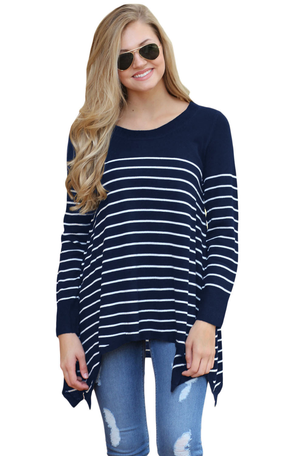 Navy Pullover Striped Knit Sweater Top Knitted pullover