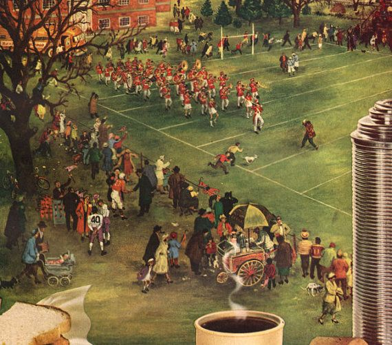 1951 Football game half time illustration Maxwell by Vividiom, $8.00