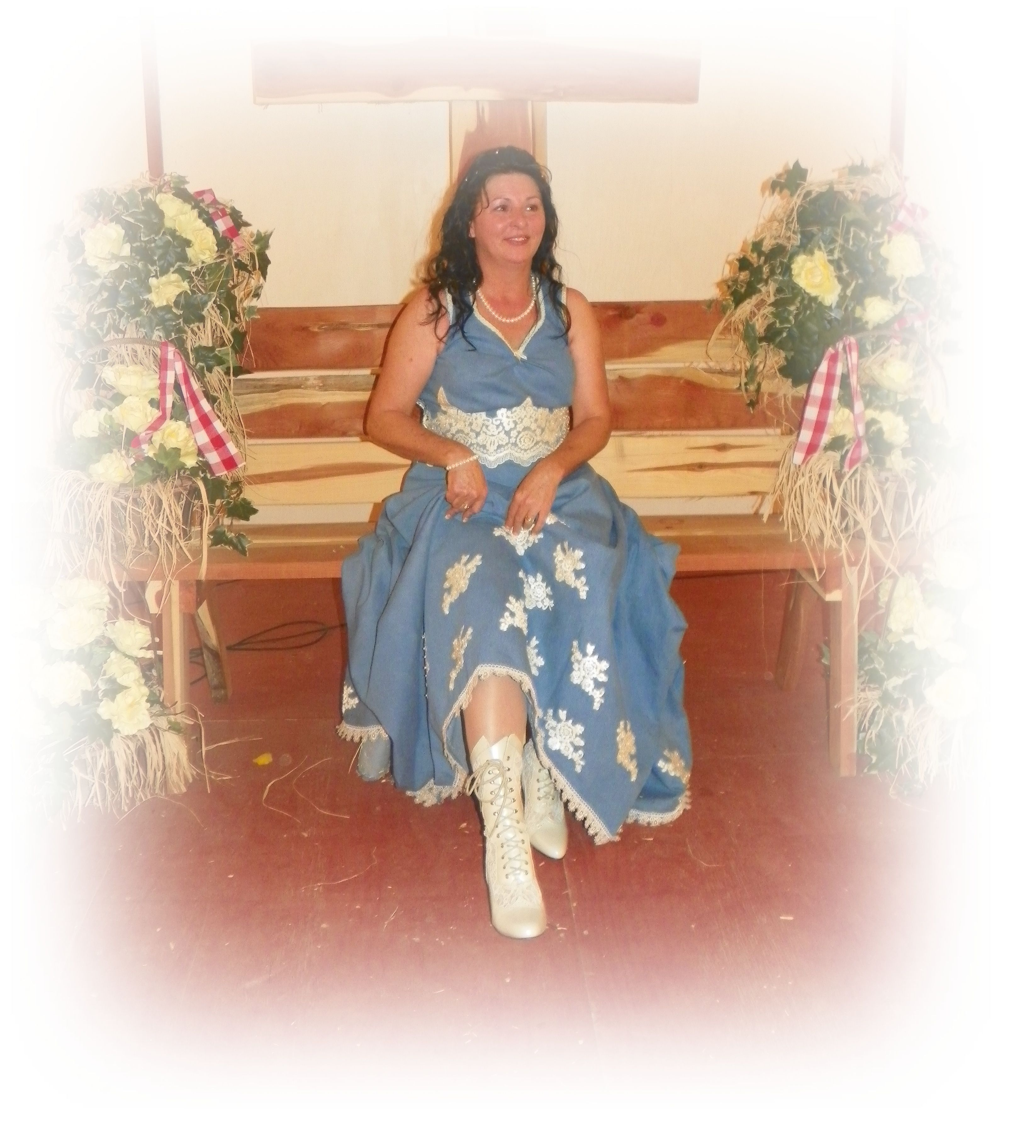 My denim wedding dress that I made myself without a pattern... check out the cute boots!