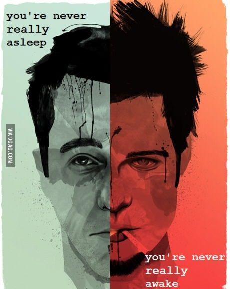 The Fight Club, tu nunca estas verdaderamente dormido,tu nunca estas realmente despierto, todo se convierte en una copia de una copia de una copia