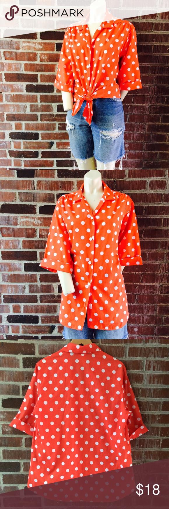 "Vintage Blair Mango Orange Polka Dot Shirt Vintage Blair mango orange Polka Dot top. Poly/cotton material. Size L. Bust 44"" Length 30"". Great vintage condition. Vintage Tops Button Down Shirts"
