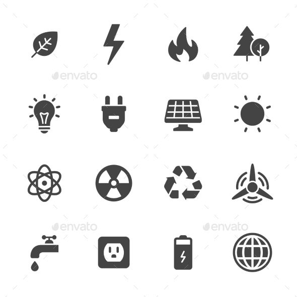 Energy And Ecology Icons Energy Symbols Icon Recycle Sign