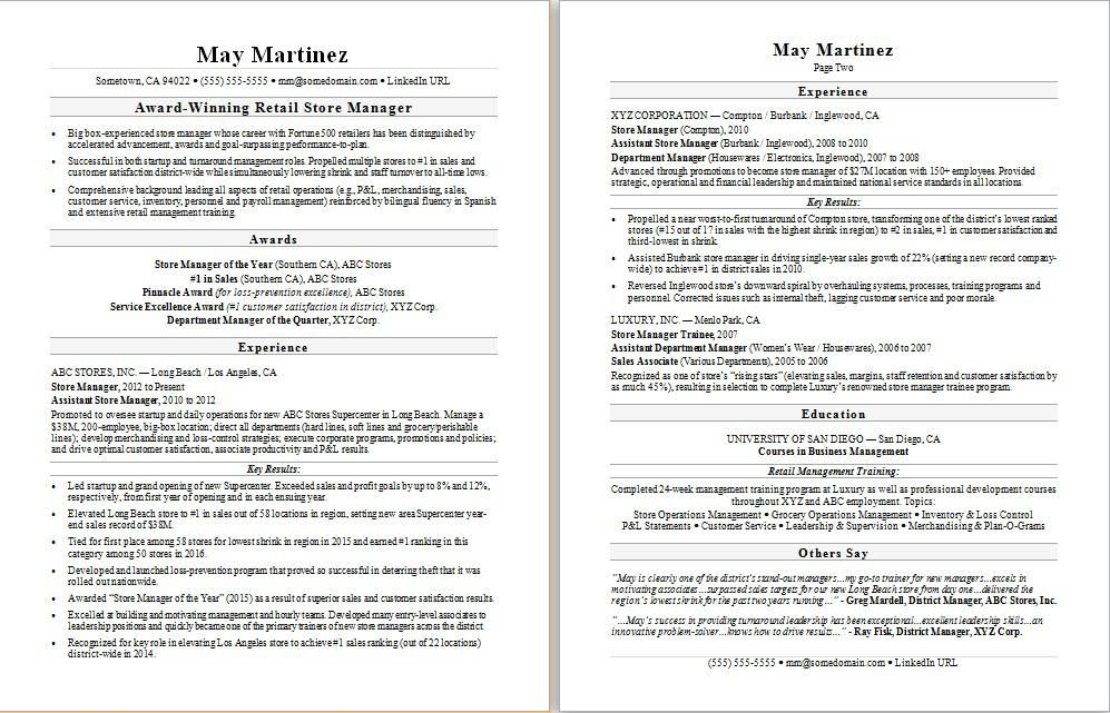 Resume Examples Retail Manager Business resume template