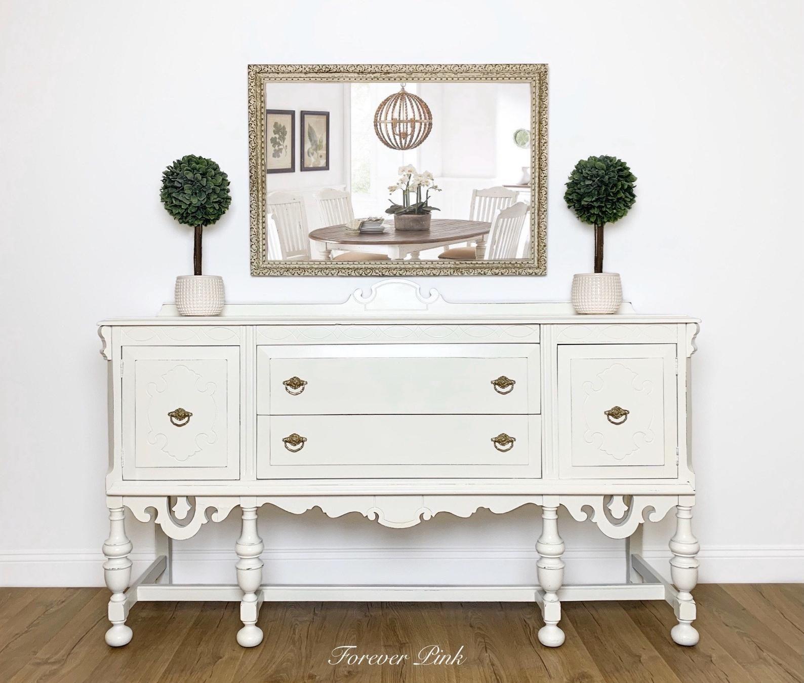 New Vintage White Jacobean Sideboard Buffet Painted Antique Etsy White Vintage Vintage House New Vintage [ 1348 x 1588 Pixel ]