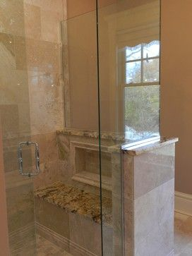 partial shower wall with storage built in | bathrooms