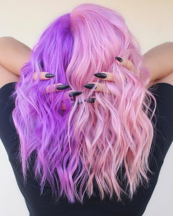 Women S Wig Hair Long Wavy Cosplay Wigs Half Light Pink And Purple Halloween Costume Wig In 2020 Aesthetic Hair Half Colored Hair Dyed Hair