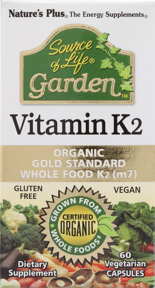 Nature S Plus Source Of Life Garden Vitamin K2 60 Vegetarian Capsules Vegan Vitamins Vitamin K2 Organic Vitamins