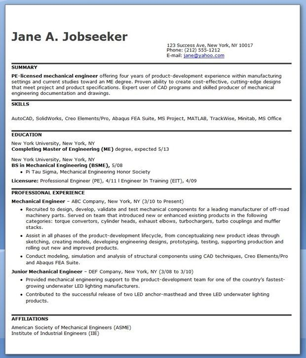 Cad Designer Resume Inspiration Mechanical Engineering Resume Sample Pdf Experienced  Resume .