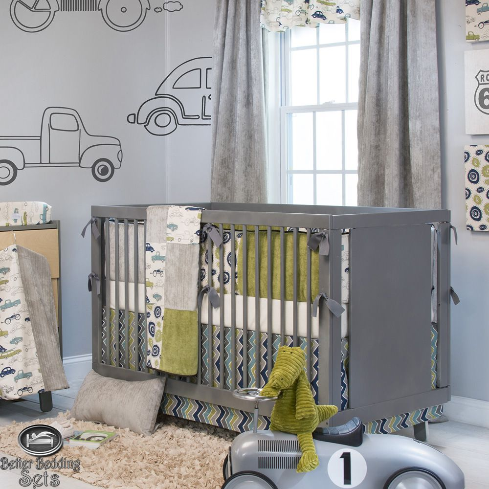 Baby boy grey vintage car truck route 66 crib nursery for Cool boy nursery ideas