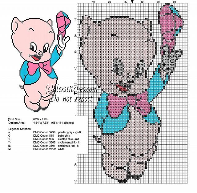 Baby Porky Pig with colored hat small Looney Tunes cross stitch ...