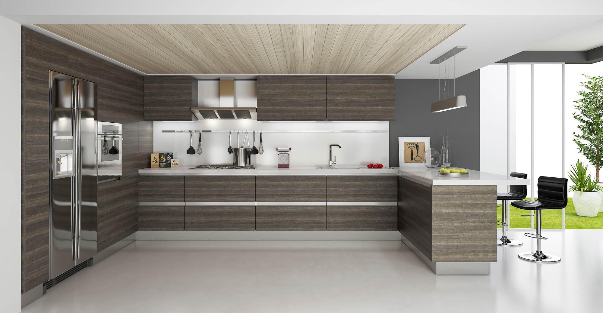 modern wooden kitchens white countertop - Google Search ...