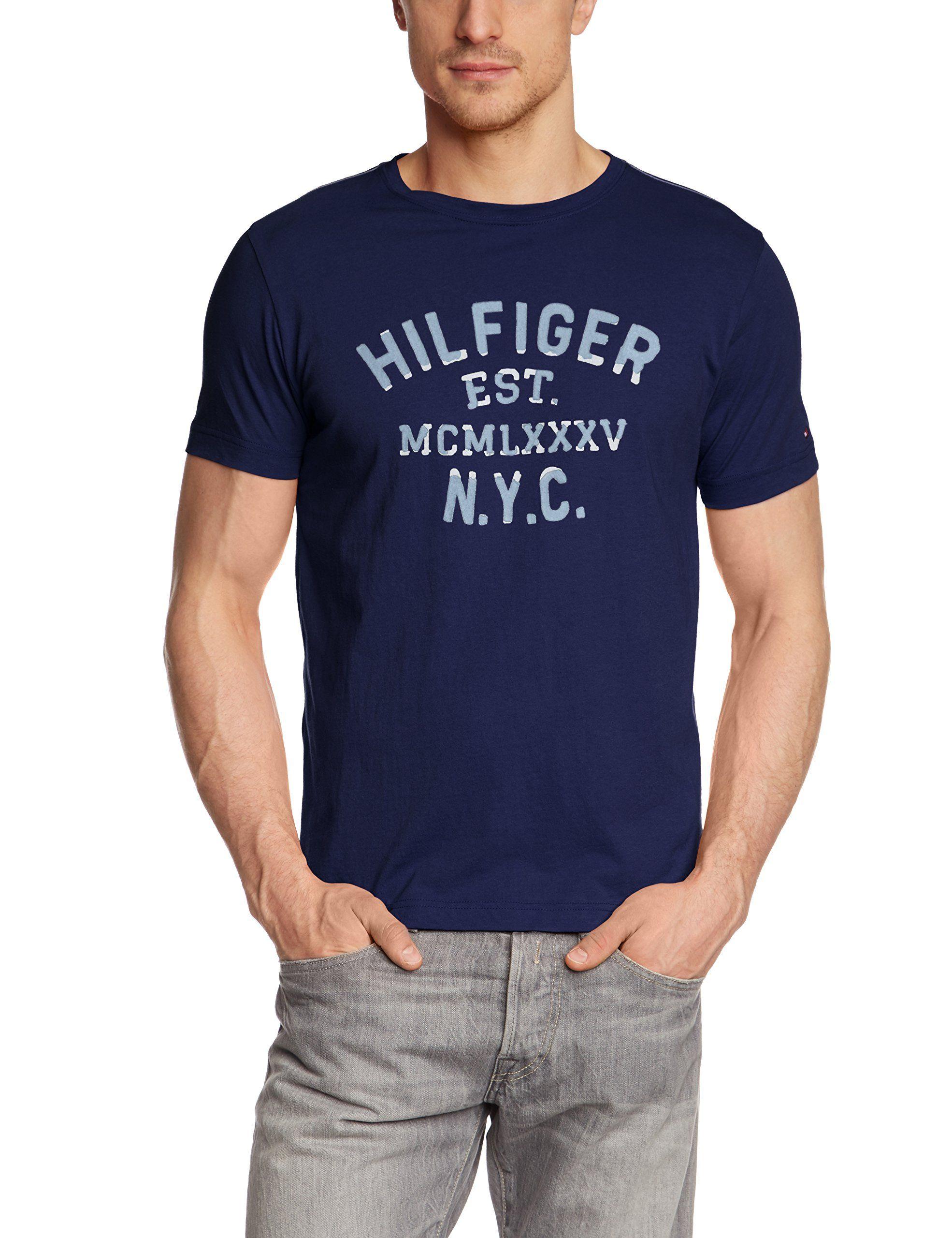 f3adae2e Tommy Hilfiger Men's T-Shirt - Blue - Blau (BLUE PRINT 484) - Small ...