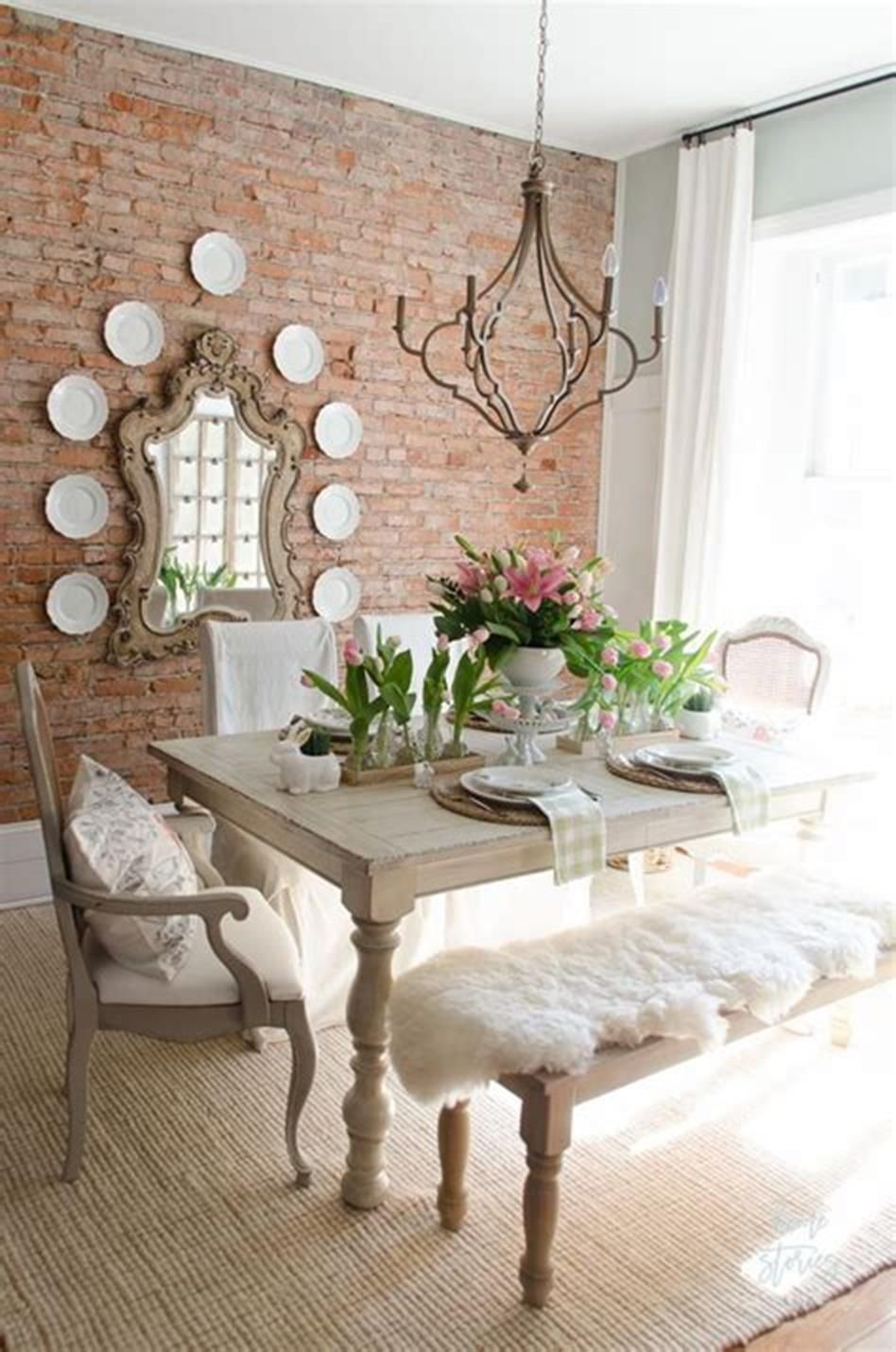 35 stunning spring kitchen and dining room decorating ideas 2019 dining room table decor on boho chic dining room kitchen dining tables id=99302