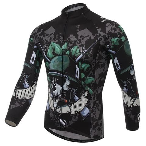 Men's Black Skull Long Sleeve  Cycling Jersey #Cycling #CyclingGear #CyclingJersey