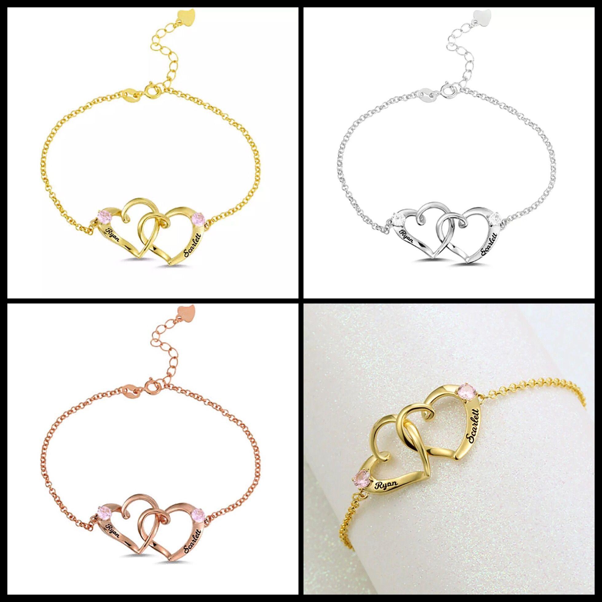 Personnalisé Couple nom bracelet St Valentin cadeau GF Pierre de naissance Bracelets