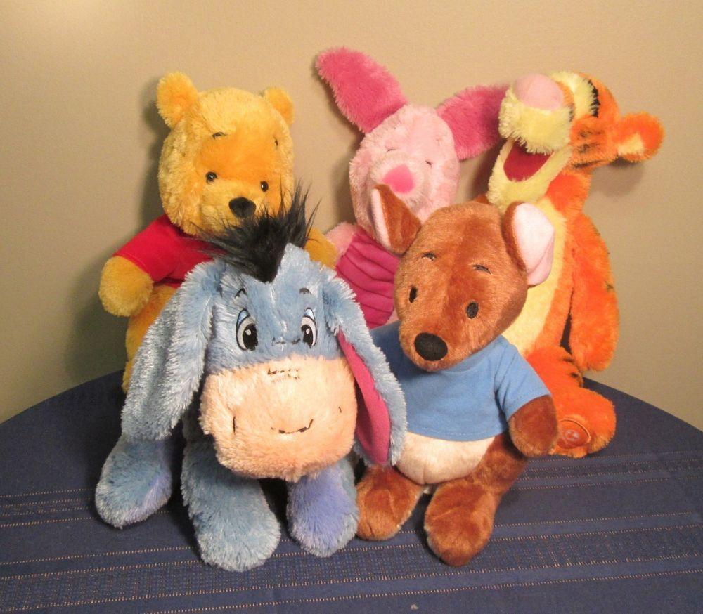 DISNEY STORE Winnie Pooh Friends Plush Stuffed Animals LOT 5 #DisneySTORE