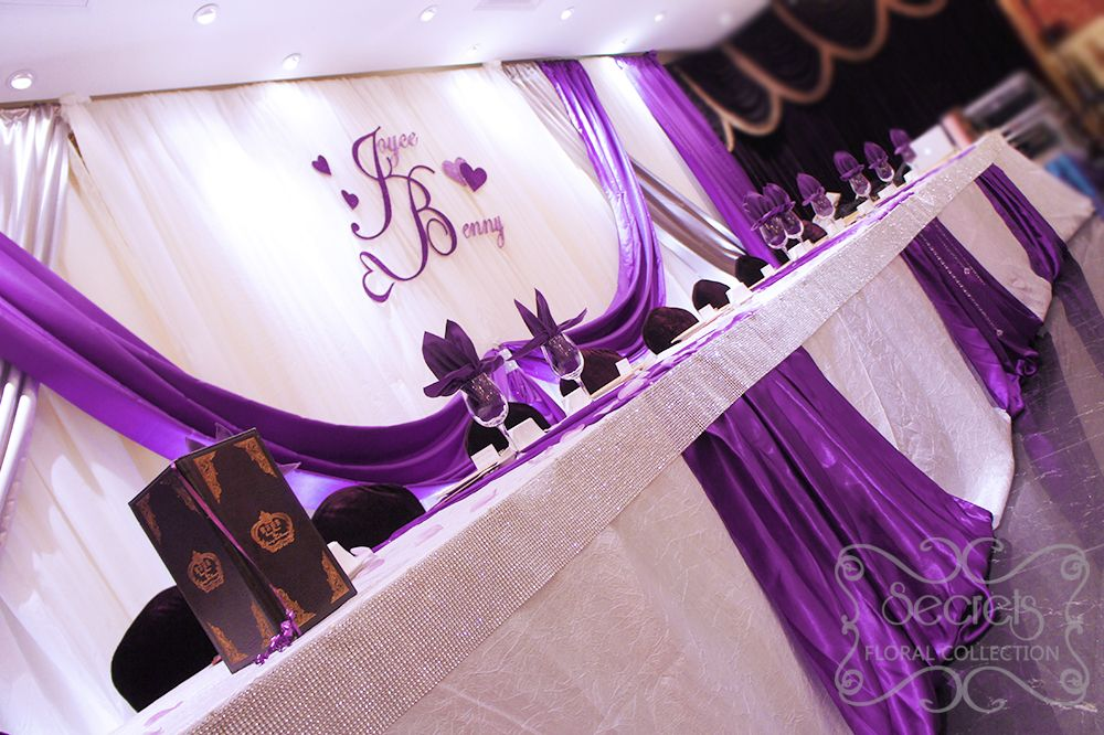 Purple And Silver Wedding Reception Crystallized Royal Purple And