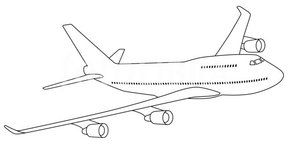Boeing 747 Graphic (Outline drawing of Boeing 747 also