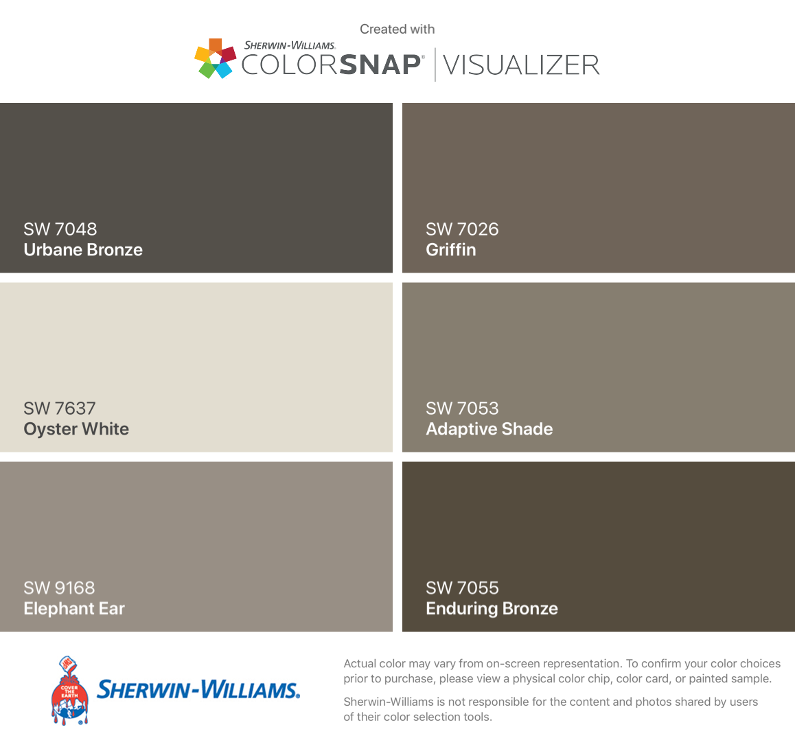 I Found These Colors With Colorsnap Visualizer For Iphone By Sherwin Williams Urbane Bronze Sw 7048 Oyster White Sw 763 Oak Trim Honey Oak Trim Honey Oak