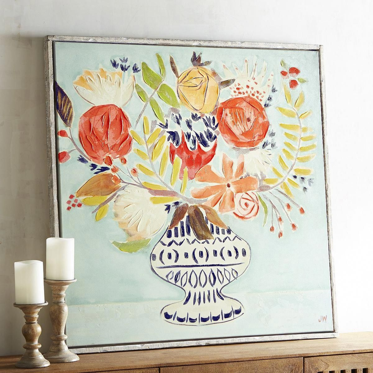 Spring Bouquet Art Pier 1 Imports Watch Our Exuberant Hand Painted Floral Own The Room From The Minute Yo Nature Canvas Painting Canvas Art Diy Canvas Art