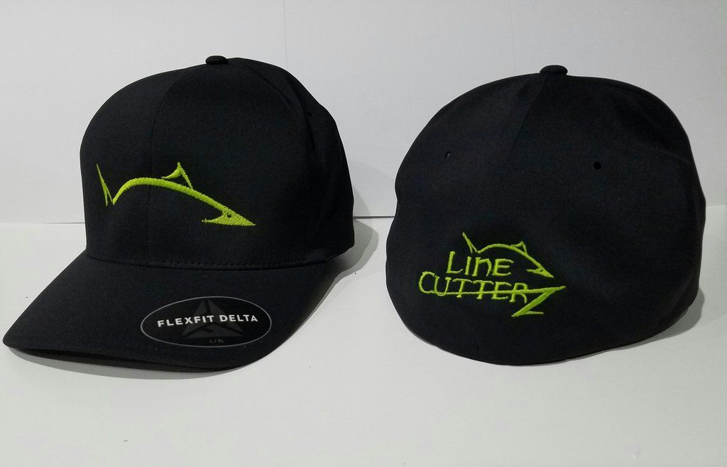c0b7f9a9 NEW* Flexfit Black Delta Hat with LC Pro Fish Logo | Line Cutterz ...