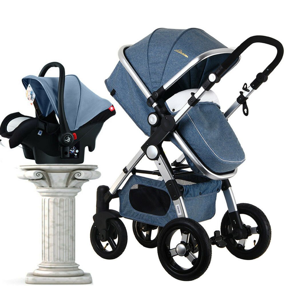 3 In 1 Foldable Baby Stroller High View Pram Pushchair