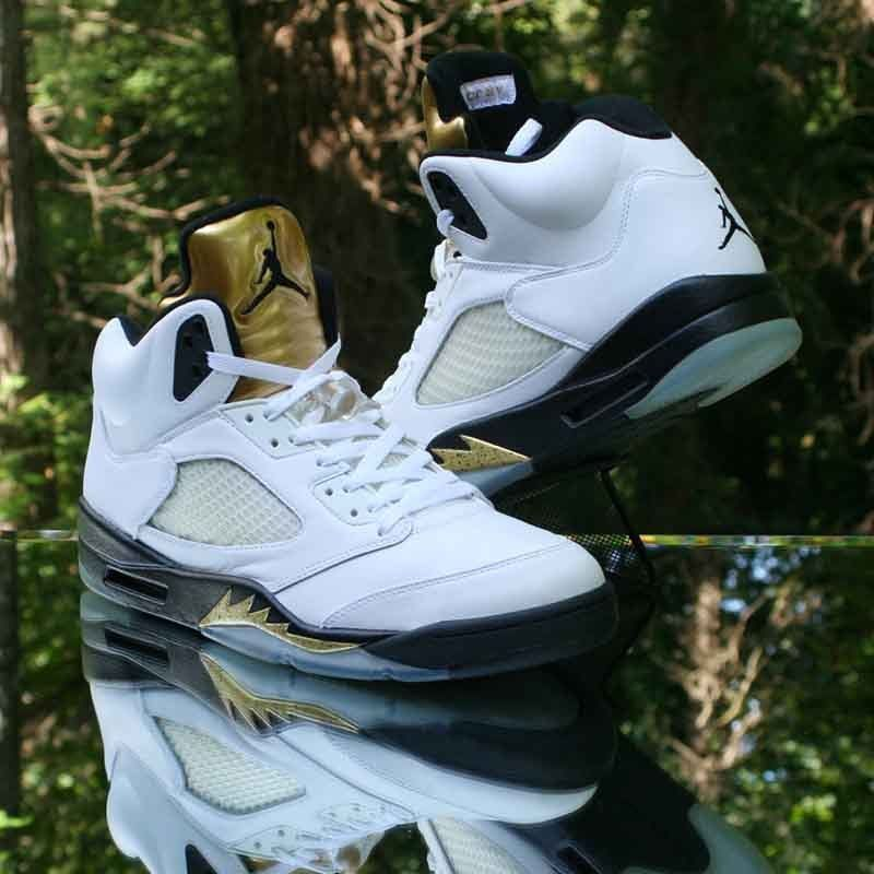 huge selection of ce8ca 11795 Nike Air Jordan 5 Retro Olympic Gold Coin White Black 136027-133 Size 13