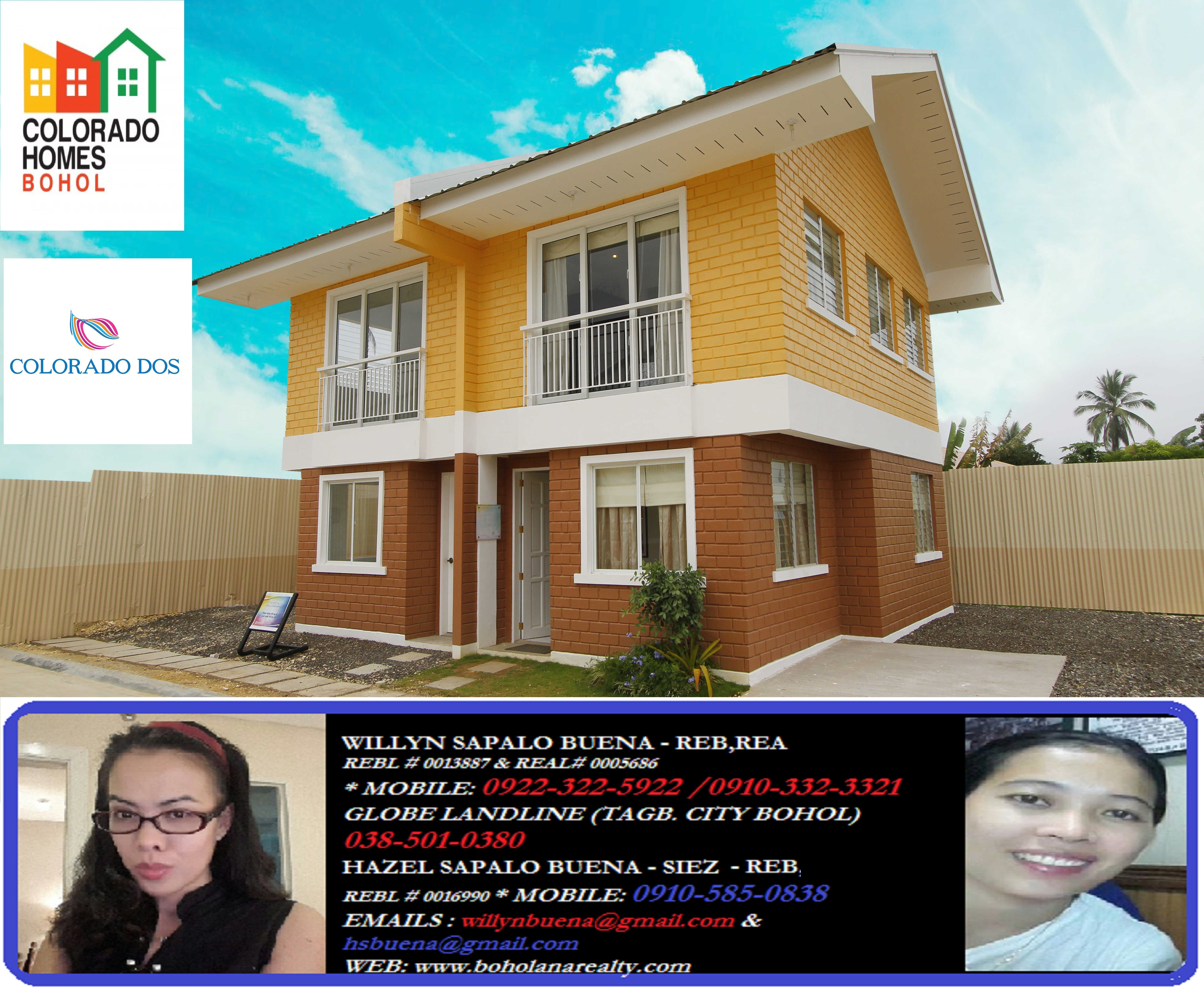 Colorado Homes Baclayon Bohol (Primary Homes Inc) Real Estate Bohol Real Estate Baclayon Boholana Realy  ALBUM LINK : https://www.facebook.com/media/set/?set=a.858278870891511.1073741887.158421820877223&type=3  VIDEO 1: https://www.facebook.com/video.php?v=791604554212205&set=vb.394693393903325&type=3&video_source=pages_video_set  CONTACT : 09223225922/09103323321/0385010380