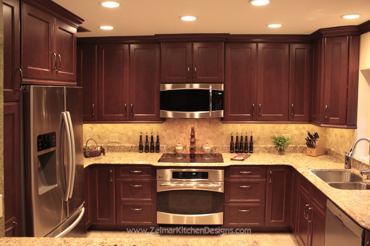 Kitchen Backsplash With Cherry Cabinets shaker door style custom cherry kitchen cabinets with a travertine