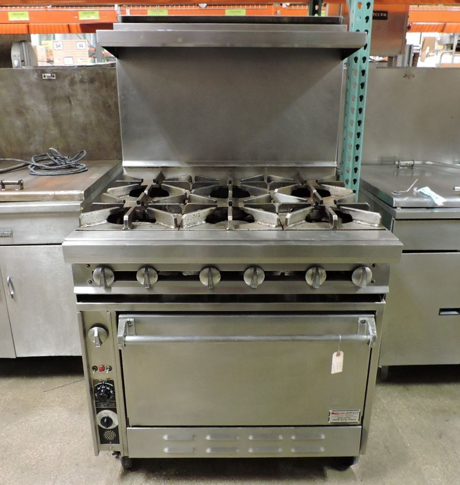 Great Jade Range JTRH 6 36C Commercial 6 Open Burner Range W/ Convection Oven