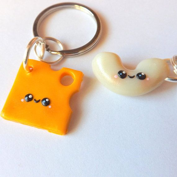 Macaroni and Cheese Best Friend Keychains - Mac and Cheese BFFs - Friendship Gift Idea - Kawaii Clay Charms - Cute Matching Keychains