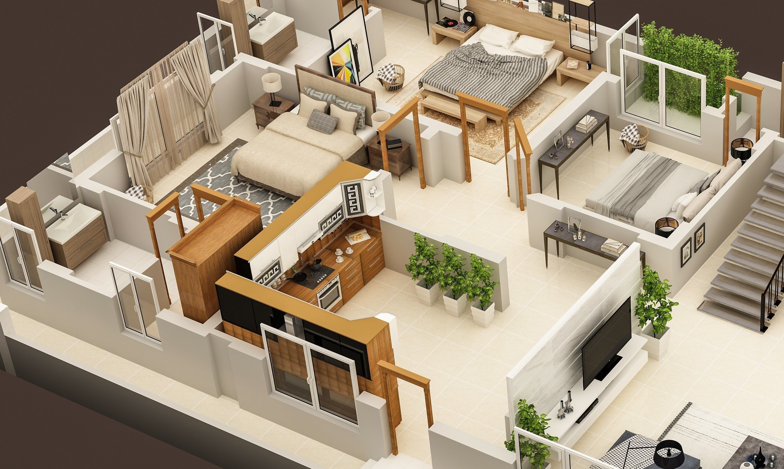 3d Floor Plan Of Ground Floor Of 1 Kanal Hosue Residence 3d