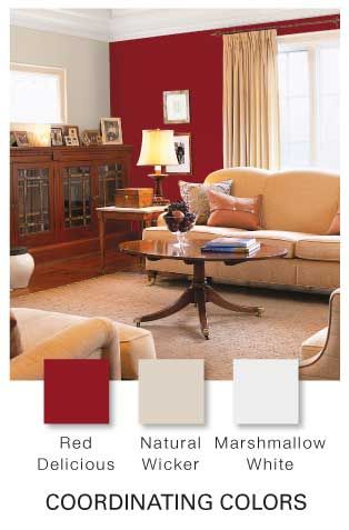 Glidden Paint Natural Wicker Trim Marshmallow White Walls Red Delicious Accents