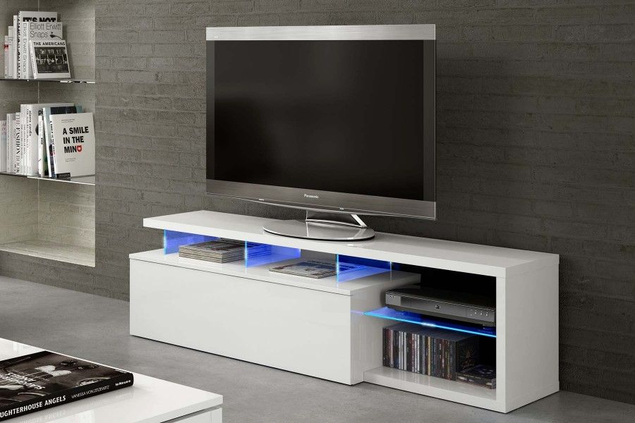MESA TV 1 PUERTA MODELO LED-TECH COLOR BLANCO BRILLO Y CRISTAL ...