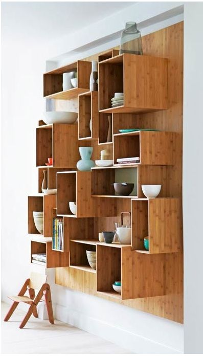 Box Shelves- this looks great, different colored boxes would look cool
