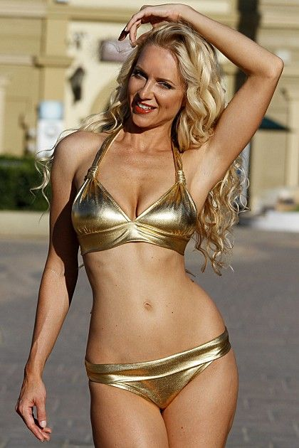 61fc6133aa Gold Metallic Banded Bikini Set (Reg Plus Size). Find this Pin and more on Cowgirl  Blondie s - Sexy by Cowgirl Blondie s Dumb Blonde Boutique.