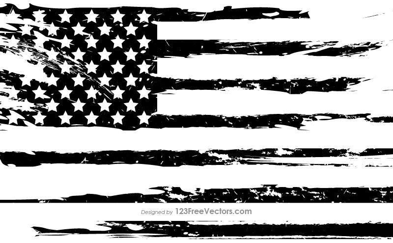 Black And White Grunge American Flag Black And White Flag