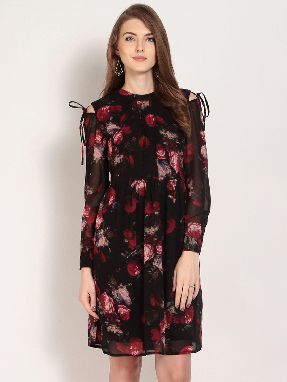 4dda8bcf601 RARE Women Black Printed Fit And Flare Dress - Dresses for Women 5803872
