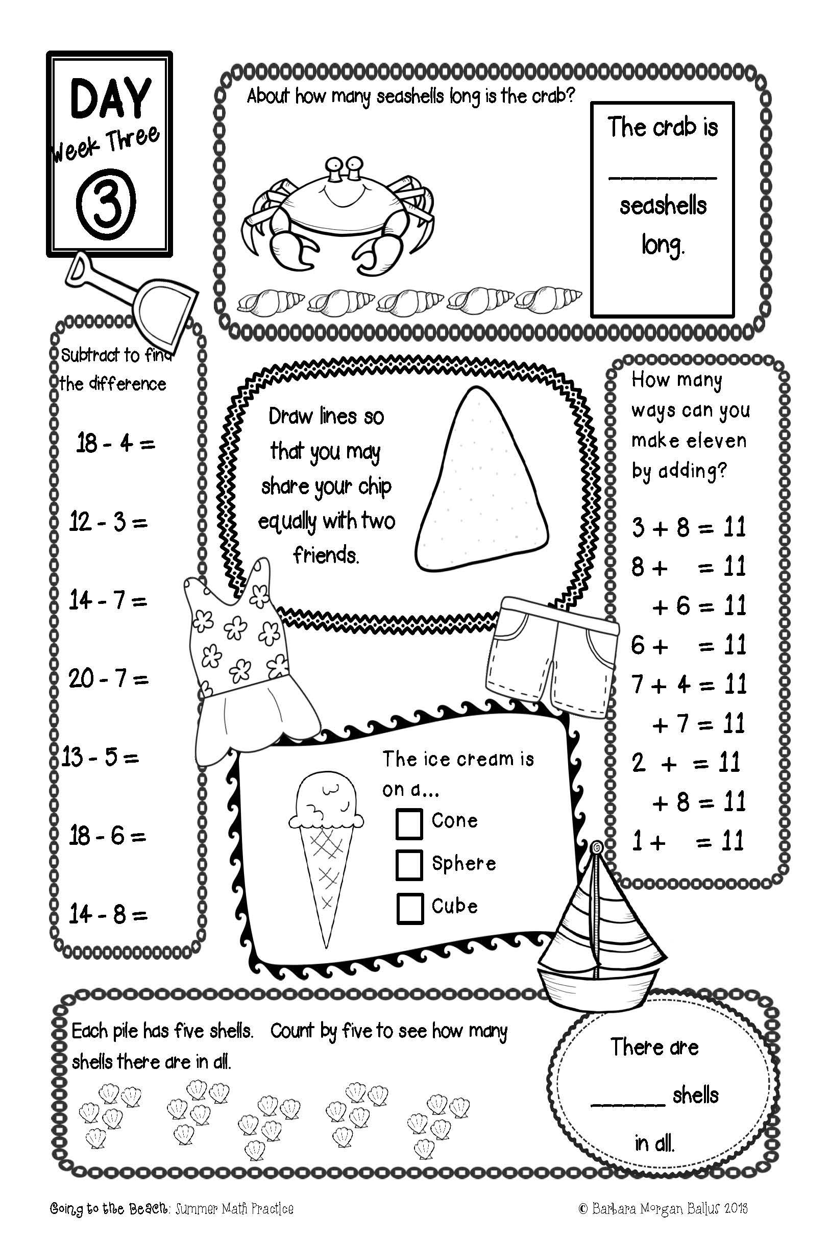Summer Practice First Grade Math End of the Year CC & TEKS
