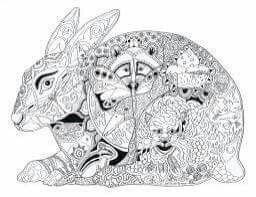 Doodle Inspiration Printable Coloring Pages Spirit Animal Rodents White Art Big Kids Bunnies Mandalas Crayon